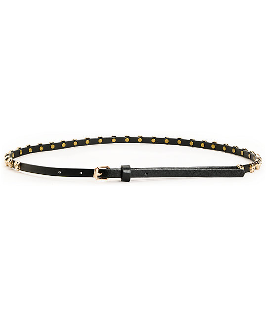 Love, Fire Black Skull Studded Skinny Belt