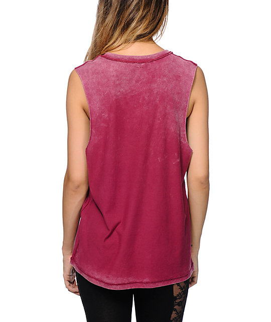 Love, Fire Burgundy Over Dyed Muscle Tank Top