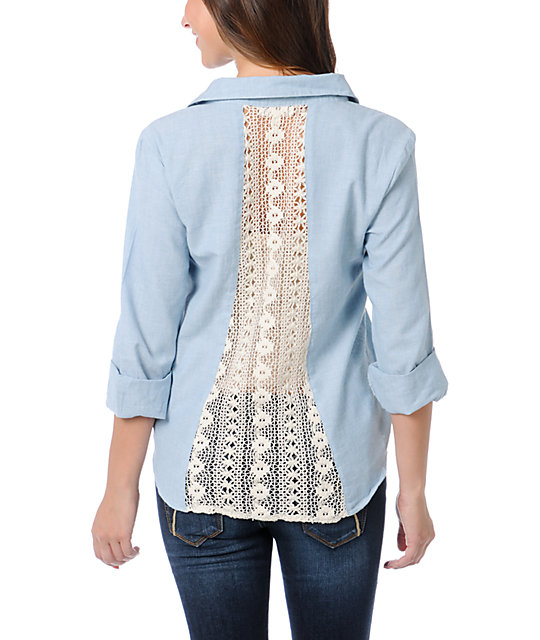 Love, Fire Chambray Vintage Blue Lace Back Button Up Shirt