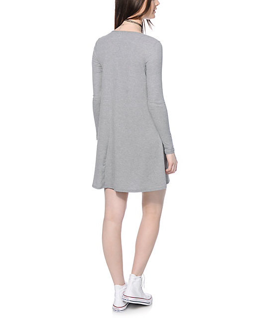 Love, Fire Hal Heather Grey Long Sleeve T-Shirt Dress