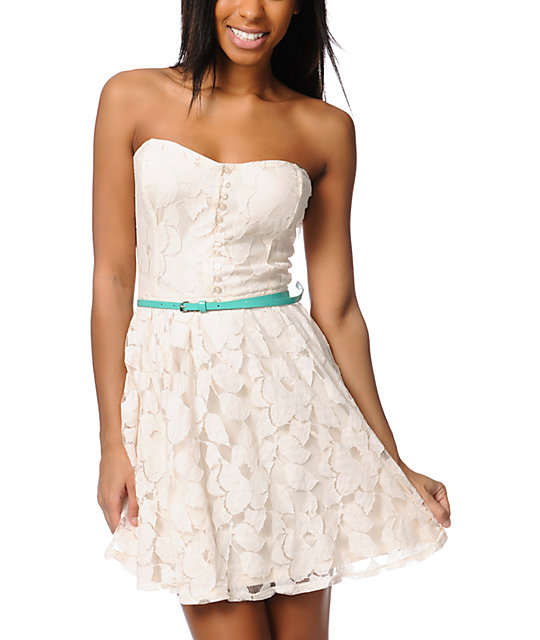 Love, Fire Ivory White Lace Strapless Dress