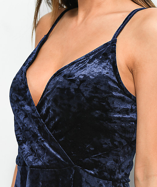 Love, Fire Jewel Blue Crushed Velvet Wrap Dress