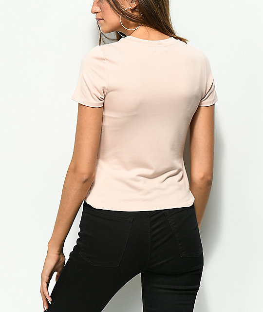 Love, Fire Knot Front Mauve T-Shirt