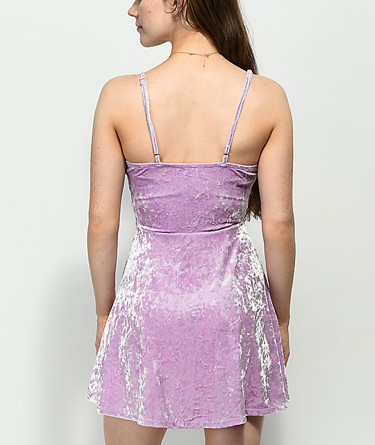 Love, Fire Lavender Crushed Velvet Wrap Dress