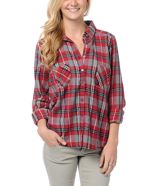 Love, Fire Red Plaid Lace Back Button Up Flannel Shirt