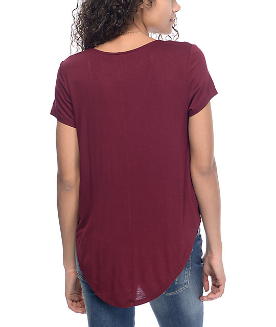 Love, Fire Regan Cross Front Burgundy Top