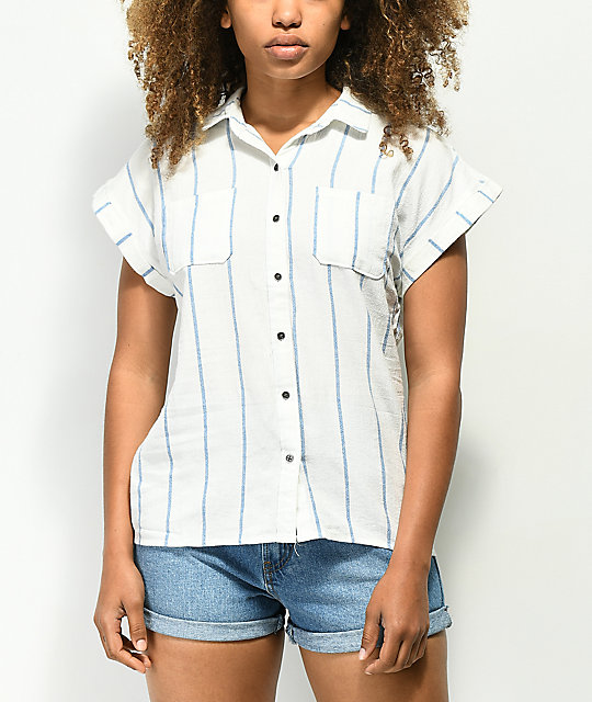 Love, Fire White & Blue Stripe Short Sleeve Button Up Shirt