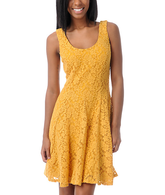 Love, Fire Yellow Lace Skater Dress