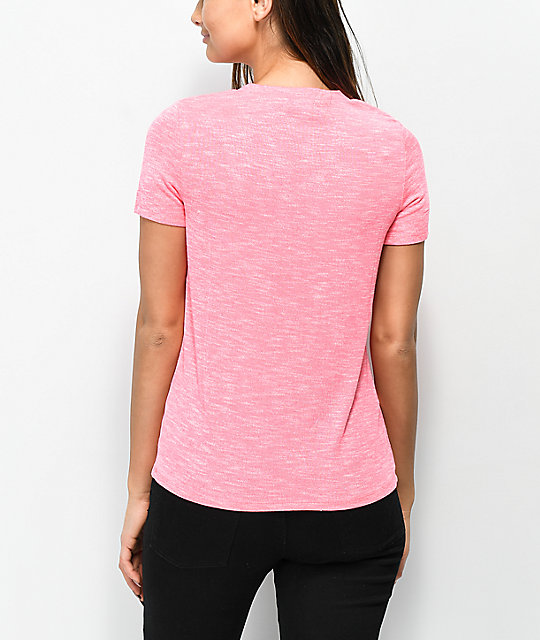 Love. Fire Haydon Neon Pink Lace-Up Top