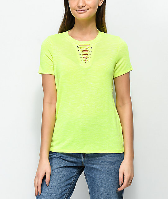 Love. Fire Haydon Neon Yellow Lace-Up Top