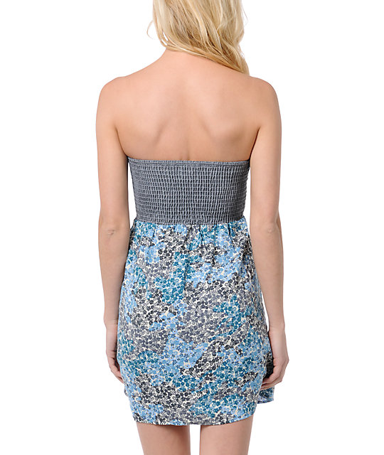 Lunachix Chambray Floral Strapless Dress