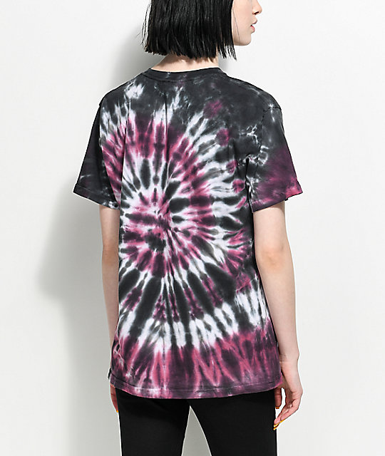 Lunachix Chill Out camiseta con efecto tie dye en color borgoño