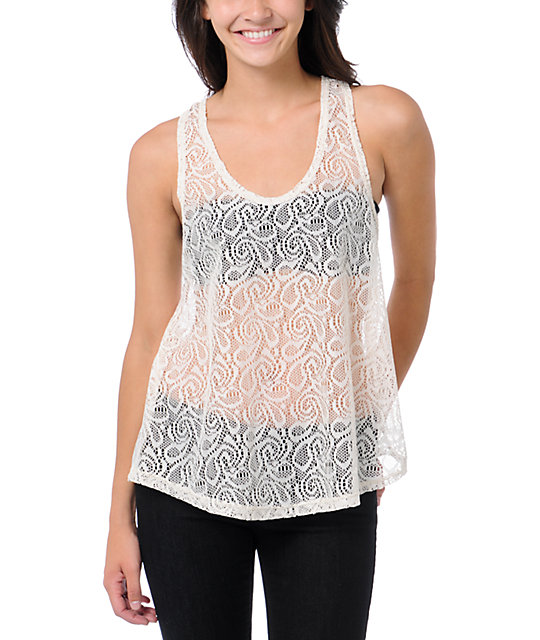 Lunachix Cream Crochet Lace Tank Top