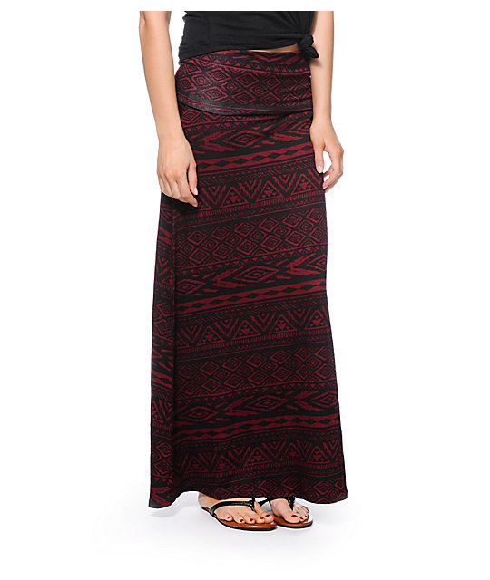Lunachix Dark Red & Black Tribal Print Maxi Skirt