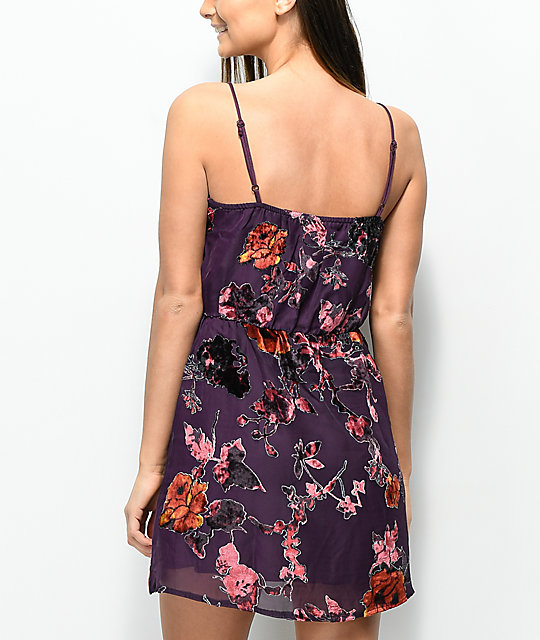 Lunachix Floral Velvet Burnout Purple Wrap Dress