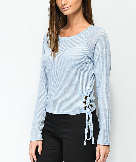 Lunachix Francis Blue Lace Down Long Sleeve Top