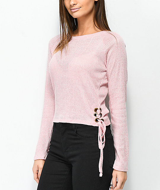 Lunachix Francis Pink Lace Down Long Sleeve Top