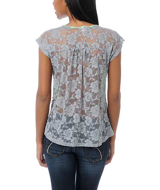 Lunachix Grey Lace Back T-Shirt