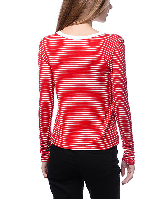 Lunachix Hamsa Red & White Stripe Long Sleeve Ringer T-Shirt