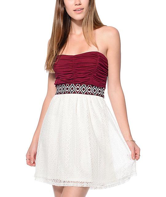 Janna strapless lace cocktail dress