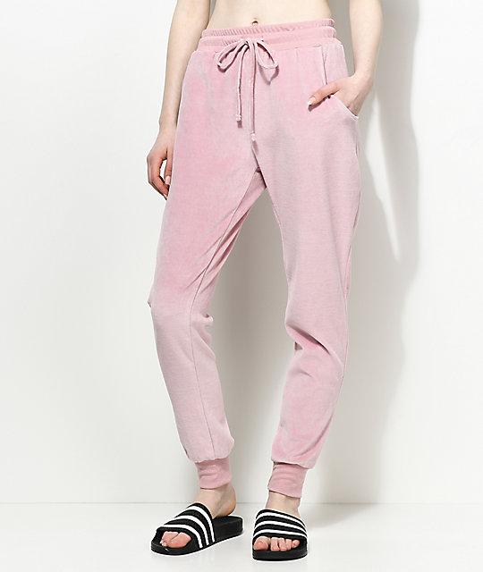 temperament shoes 2019 hot sale special price for Lunachix Kylie Light Pink Velour Jogger Pants
