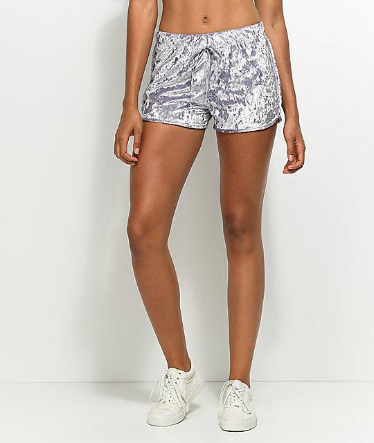 Lunachix Lavender Crushed Velvet Shorts  563b22f83
