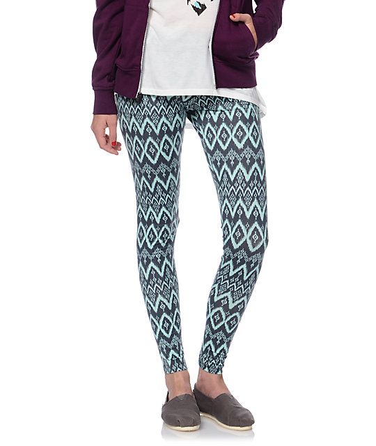 Lunachix Mint & Charcoal Tribal Print Leggings