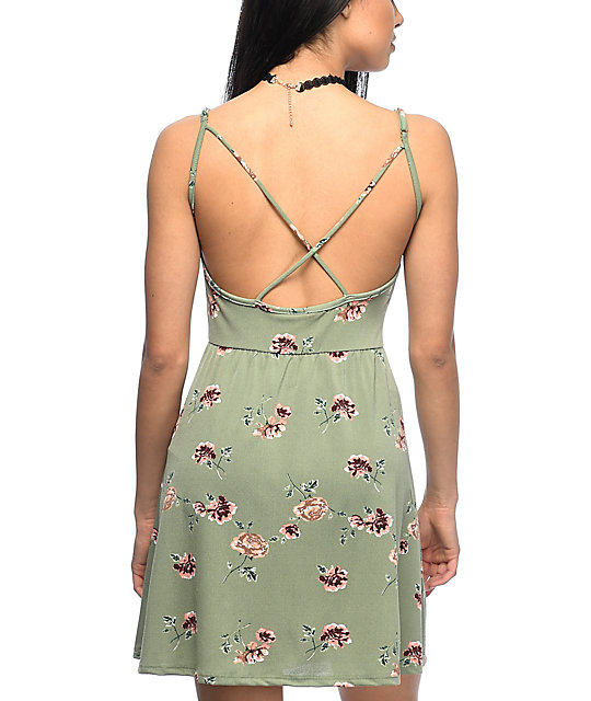 Lunachix Nia Strappy Olive Floral Dress