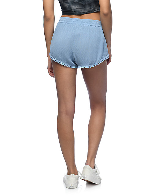 Lunachix Randi Light Blue Pom Trim Shorts