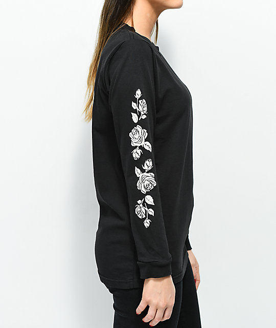 Lunachix Rose Sleeve Hit Black Long Sleeve T-Shirt