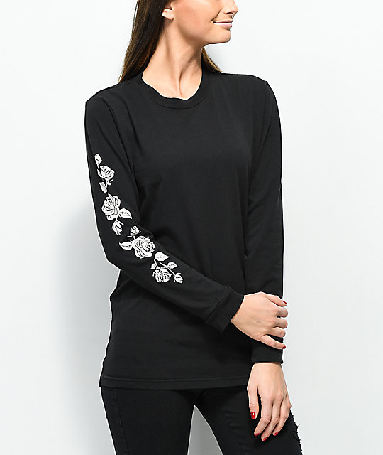 Lunachix Rose Sleeve Hit camiseta negra de manga larga