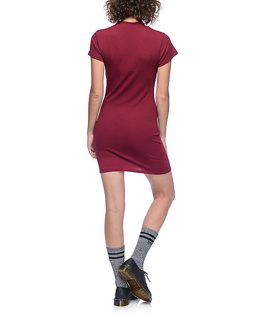 Lunachix Sid Burgundy Mock Neck Dress