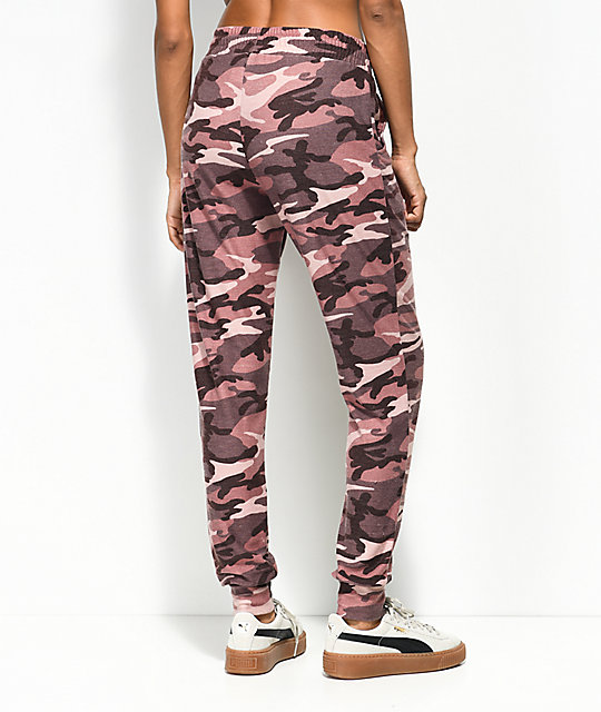 Lunachix Washed Burgundy & Pink Camo Jogger Sweatpants