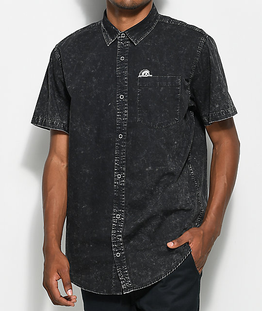 Lurking Class By Sketchy Tank Sunday Driver Acid Wash Short Sleeve Button Up Shirt