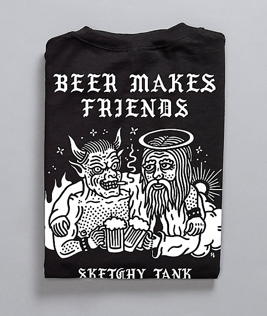 Lurking Class by Sketchy Tank Beer Makes Friends camiseta negra
