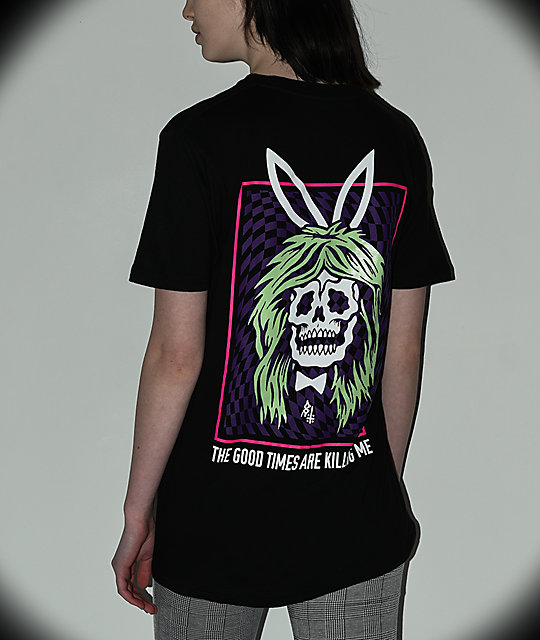 Lurking Class by Sketchy Tank Bunny Blacklight camiseta negra