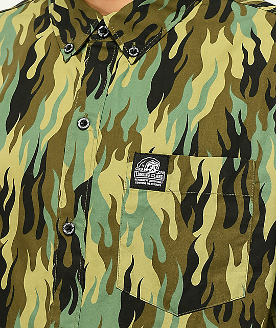 Lurking Class by Sketchy Tank Fuegoflage Short Sleeve Button Up Shirt
