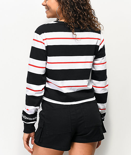 Lurking Class by Sketchy Tank Thorns Black & White Stripe Crop Long Sleeve T-Shirt