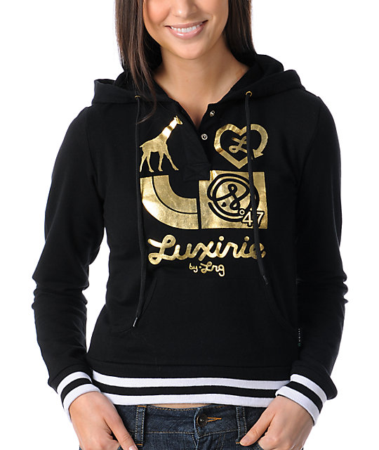 Luxirie 4 Logo Black Pullover Henley Hoodie