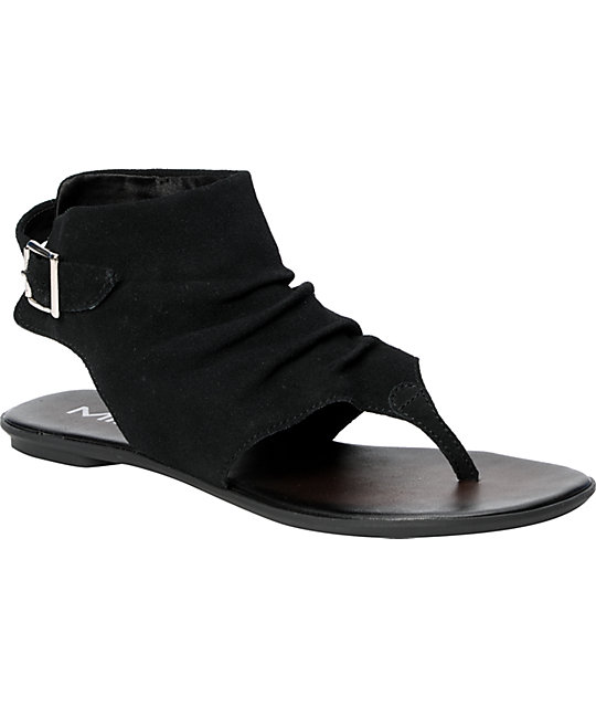 MIA Hayat Black Suede Sandals