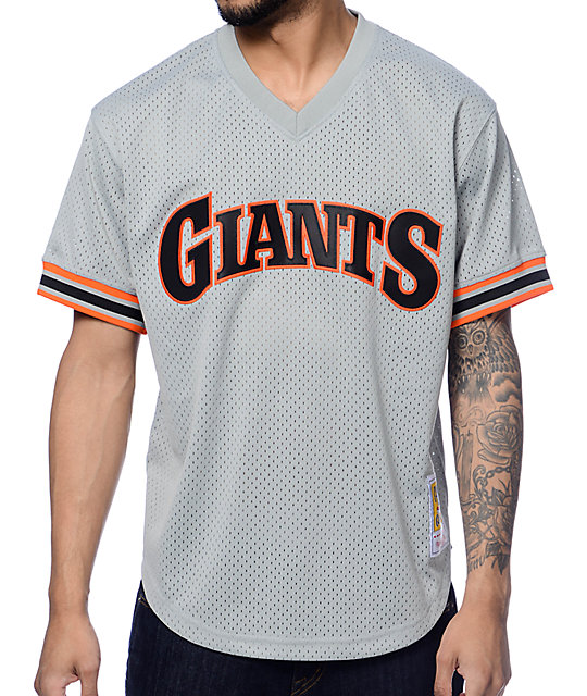 256fc33c MLB Mitchell and Ness Clark San Francisco Giants Grey Mesh Jersey