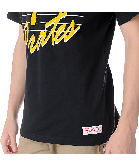 MLB Mitchell and Ness Pitstburgh Pirates Strikeout Black T-Shirt