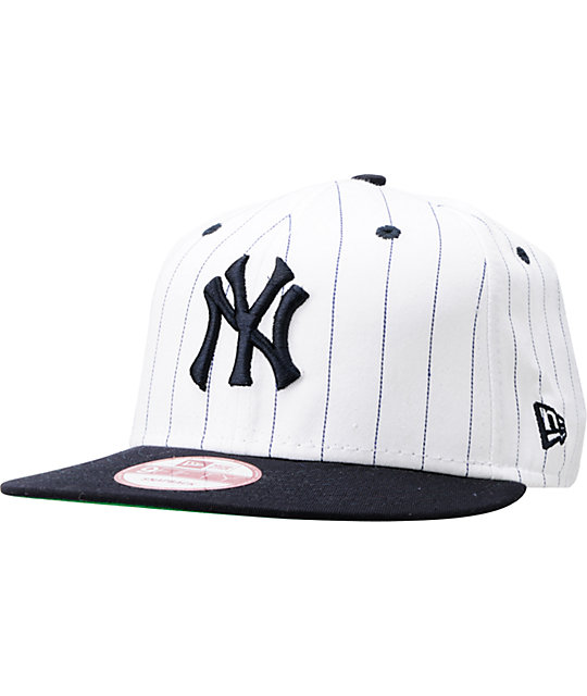 36cdce63dd9 MLB New York Yankees White BITD Pin Stripe New Era Snapback Hat