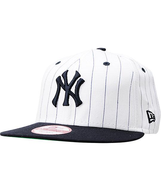f530cbbd MLB New York Yankees White BITD Pin Stripe New Era Snapback Hat | Zumiez