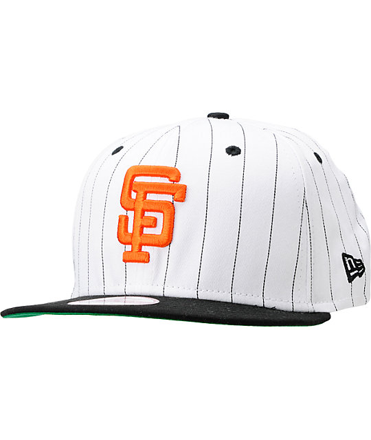 MLB San Francisco Giants White BITD Pin Stripe New Era Snapback Hat