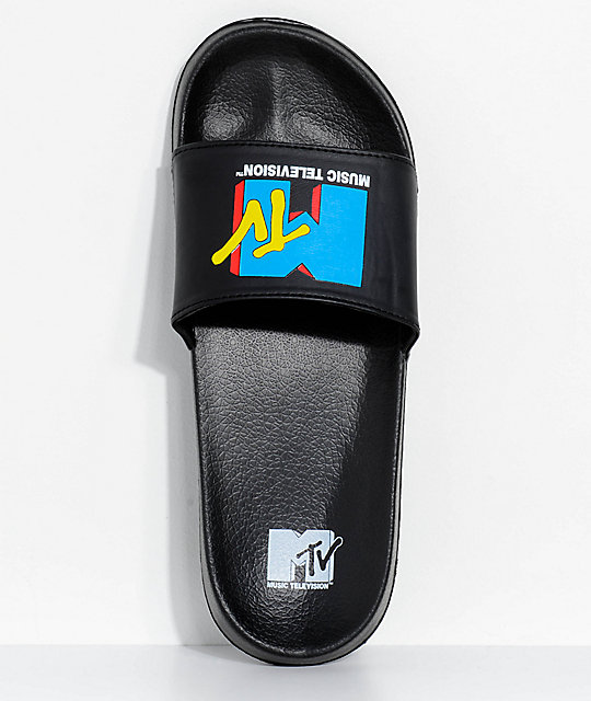 MTV I Want My MTV Black & Blue Slide Sandals