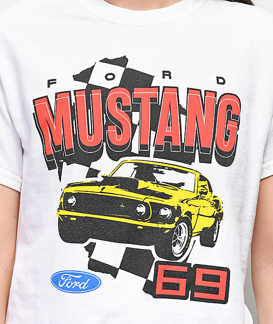 Mad Engine Mustang 69' White Crop T-Shirt