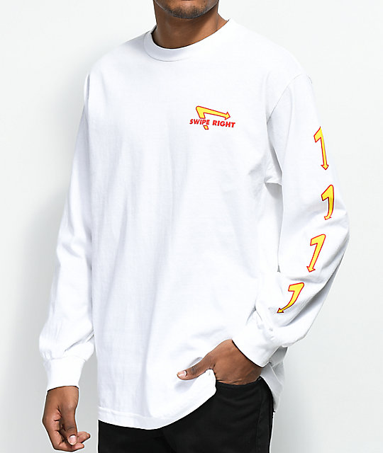 Made In Paradise Swipe Right White Long Sleeve T-Shirt