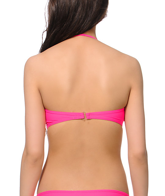 Malibu Candy Coated Pink Fringe Bandeau Bikini Top