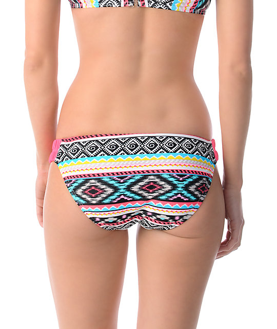 Malibu Dream Head Games Tribal Shirr-Side Hipster Bikini Bottom